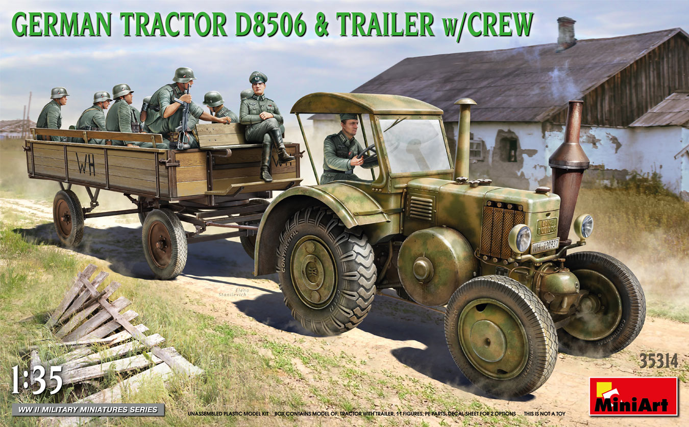 1/35 German Tractor D8506 with Trailer + Crew - Miniart
