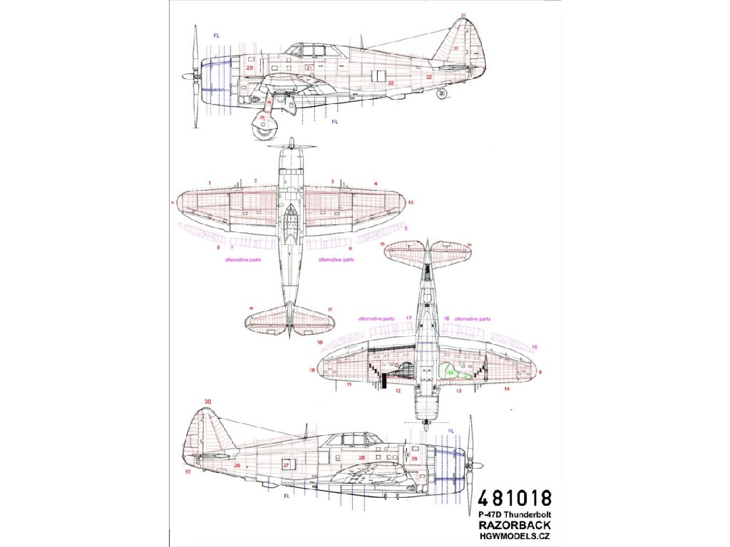 1/48 P-47D Thunderbolt Razorback - Riveting Sets - Tamiya