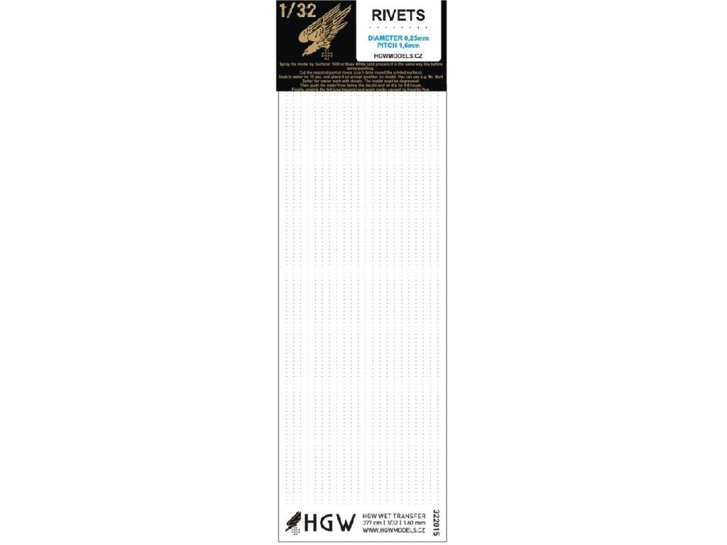 1/32 Single Lines - Free Lines of Rivets - spacing: 1.60 mm 377 cm 1/32