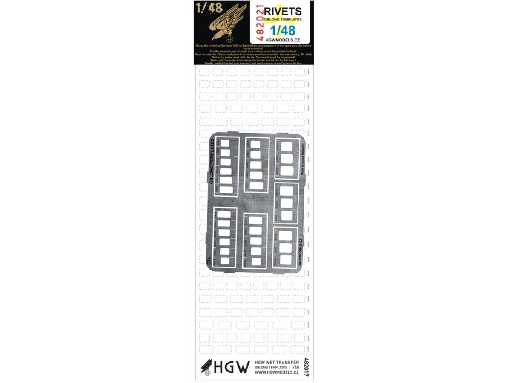 1/48 Oblong Templates (Plus) - Free Lines of Rivets - incl. 482017 + PE scribing template