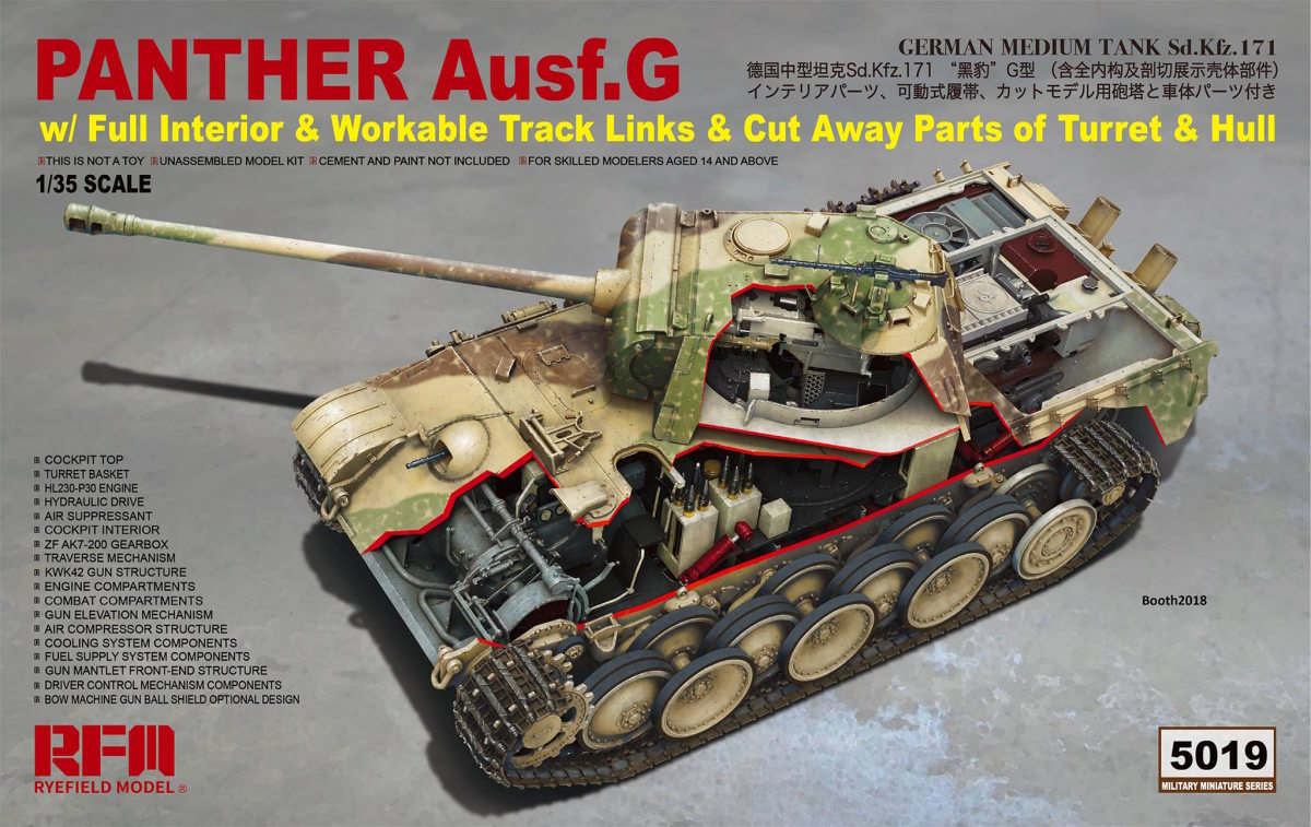 1/35 Panther Ausf.G with full interior + cut away parts