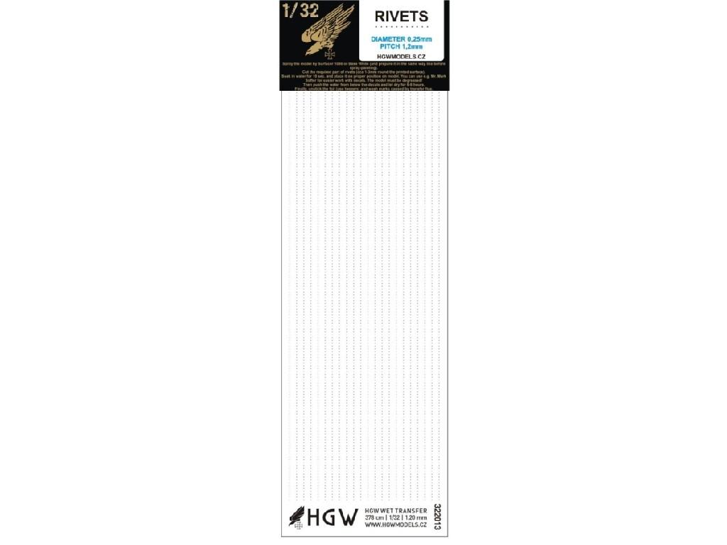 1/32 Single Lines - Free Lines of Rivets - spacing: 1.20 mm 378 cm 1/32