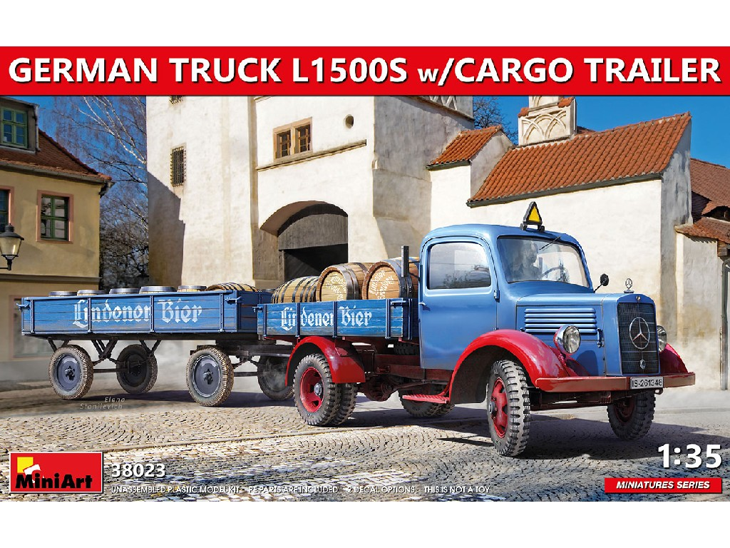 Miniart - 38023 - GERMAN TRUCK L1500S w/CARGO TRAILER - Miniart 1:35