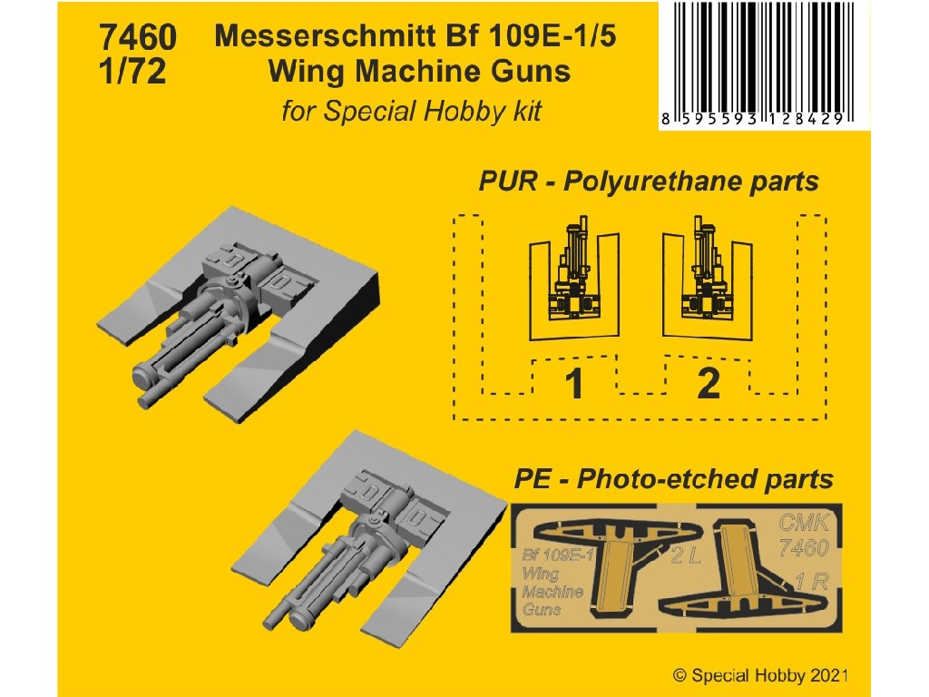 CMK - 7460 - Messerschmitt Bf 109E-1/5 Wing Machine Guns 1:72
