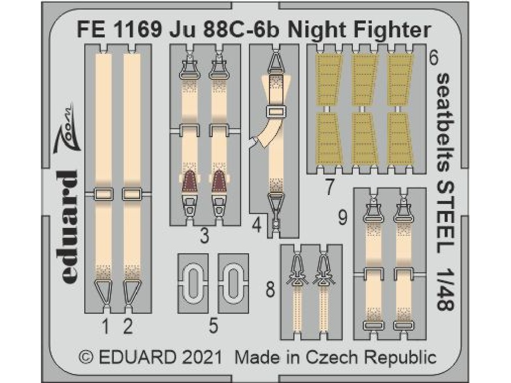 1/48 Ju 88C-6b Night Fighter seatbelts STEEL for ICM kit