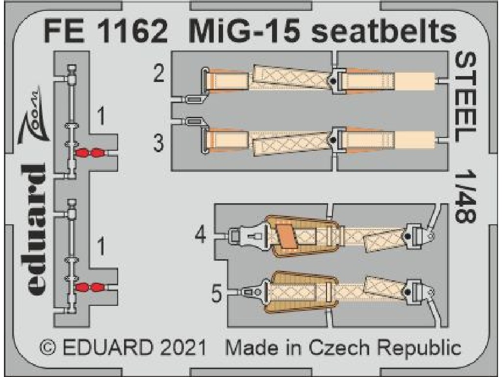1/48 MiG-15 seatbelts STEEL for BRONCO / HOBBY 2000 kit