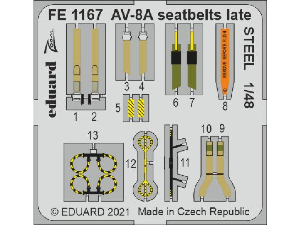 1/48 AV-8A seatbelts late STEEL for KINETIC kit