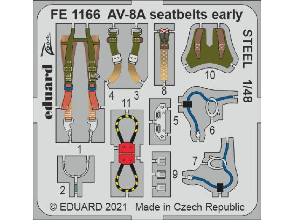 1/48 AV-8A seatbelts early STEEL for KINETIC kit