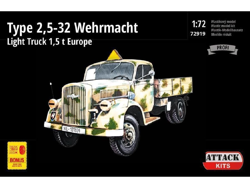 Attack Kits - 72919 - Type 2,5-32 Wehrmacht Light Truck 1,5 t Europe (PE exterior set, resin alternative wheels) 1:72