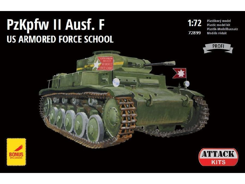 Attack Kits - 72899 - PzKpfw II Ausf.F US Armored Force School (with metal barrel) 1:72
