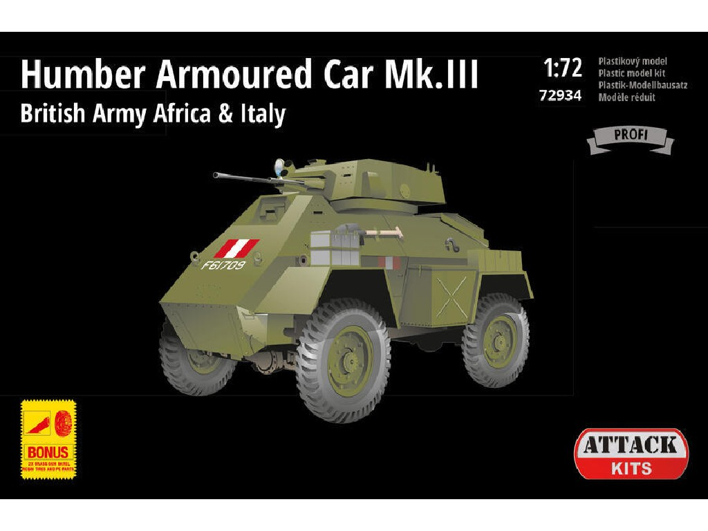 Attack Kits - 72934 - Humber Armoured Car Mk.III – British Army Africa + Italy (PE+ resin det., metal gun bar.) 1:72