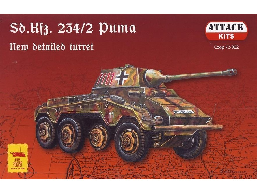 1/72 Sd. Kfz. 234 Puma detailed (resin detailed turret, metal MG, two figurins)