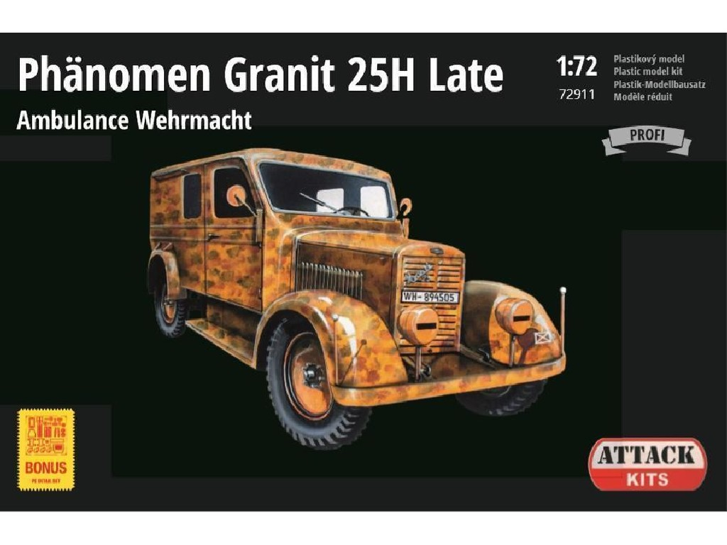 Attack Kits - 72911 - Phänomen Granit 25H Late Ambulance (New parts, PE, decal Wehrmacht) 1:72