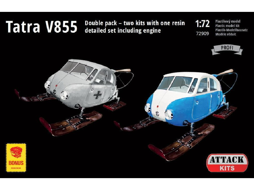 Attack Kits - 72909 - Tatra V855 Aerosan (Double pack 2 kits + 1x resin detailed engine) 1:72