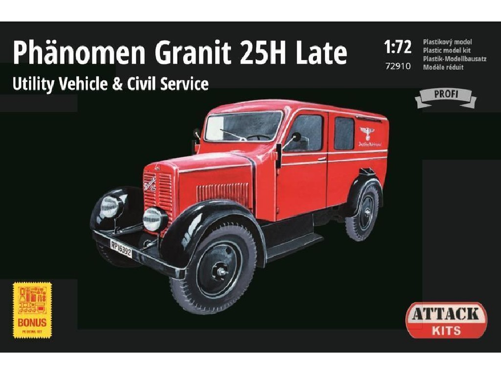 Attack Kits - 72910 - Phänomen Granit 25H Late Utility Civil (New parts, PE, Reichpost, Ambulance CZ) 1:72