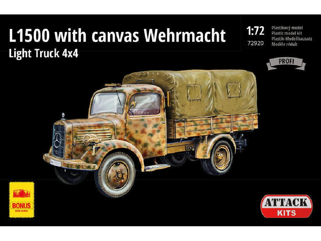 Attack Kits - 72920 - L1500 with canvas Wehrmacht Light Truck 4x4 (PE ext.set, resin alt. wheels+canvas) 1:72
