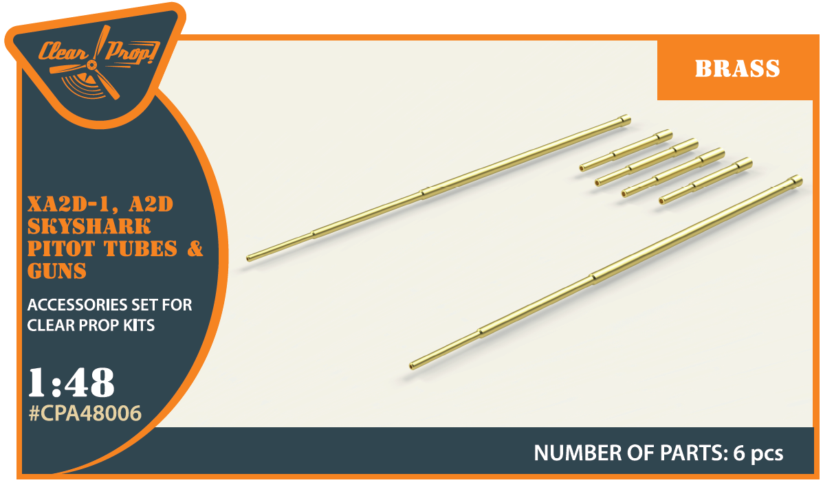 Clear Prop - CPA48006 - XA2D-1 Skyshark brass set (2 guns shorter, 2 guns longer, 2 Pitot Tube) 1:48