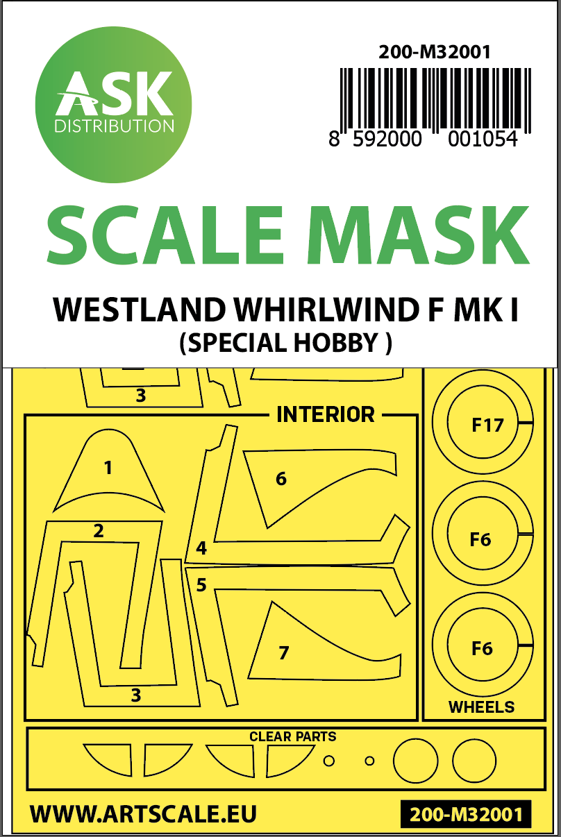 Art Scale - M32001 - Westland Whirlwind Mk.I painting mask for Special Hobby 1:32