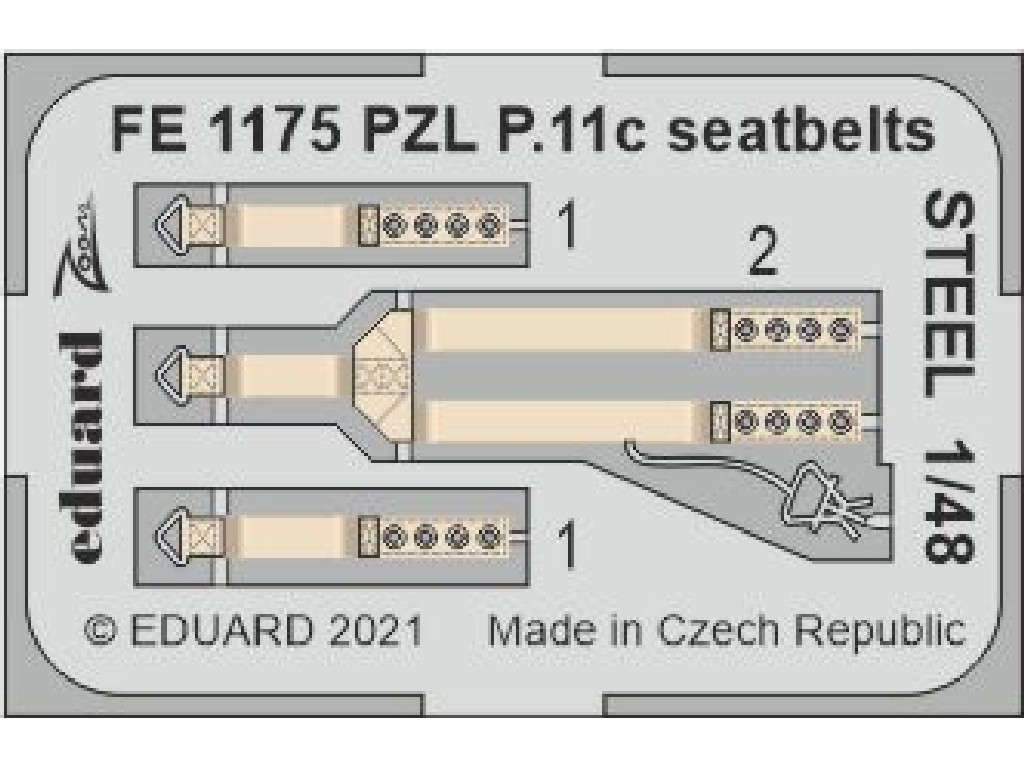Eduard - FE1175 - PZL P.11c seatbelts STEEL for ARMA HOBBY kit 1:48