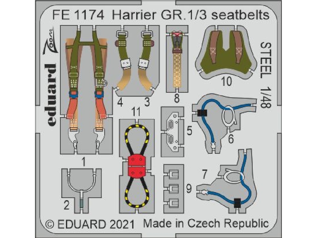 Eduard - FE1174 - Harrier GR.1/3 seatbelts STEEL for KINETIC kit 1:48