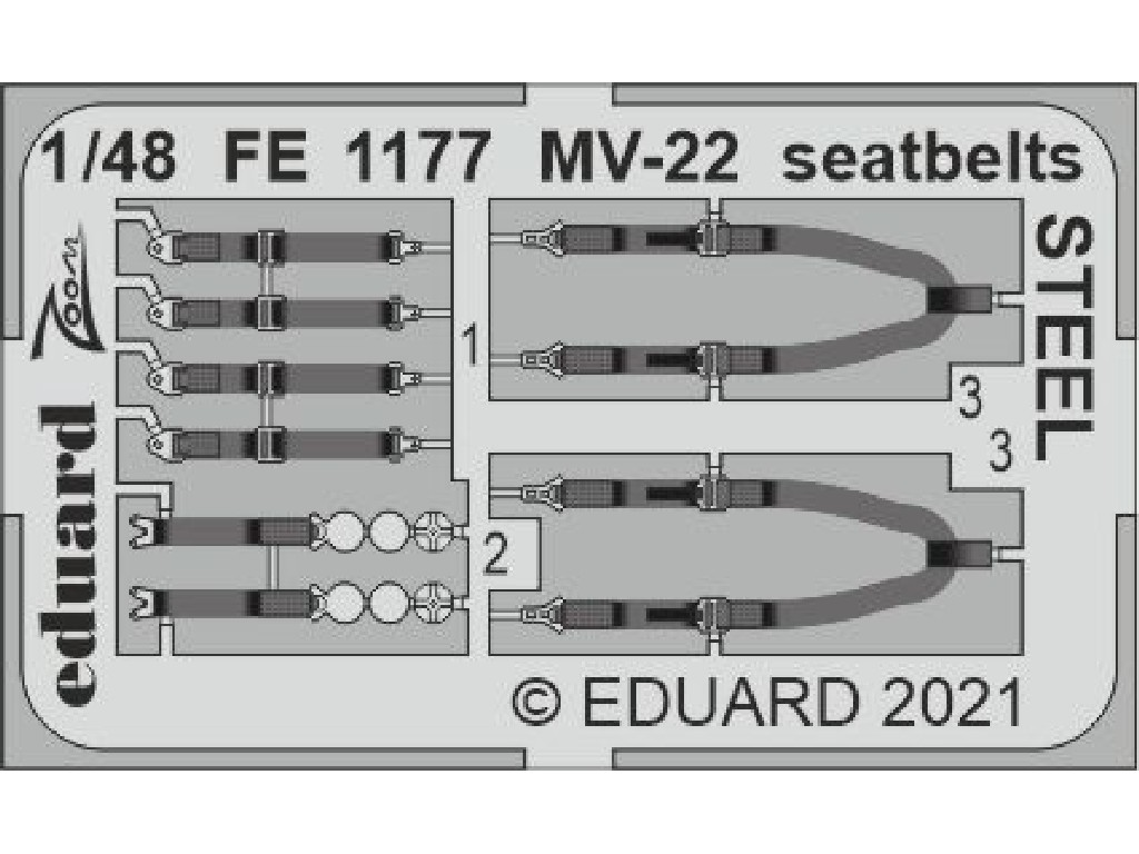 Eduard - FE1177 - MV-22 seatbelts STEEL for HOBBY BOSS kit 1:48