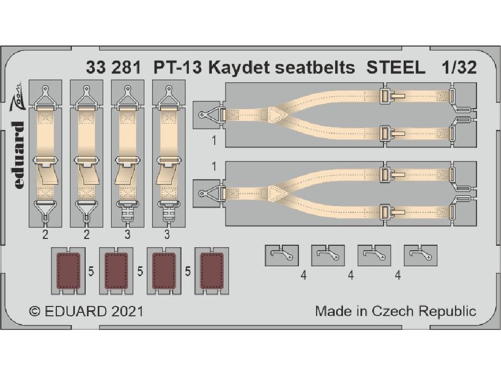 Eduard - 33281 - PT-13 Kaydet seatbelts STEEL for RODEN kit 1:32