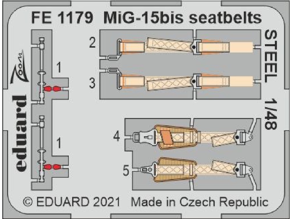 Eduard - FE1179 - MiG-15bis seatbelts STEEL for BRONCO / HOBBY 2000 kit 1:48