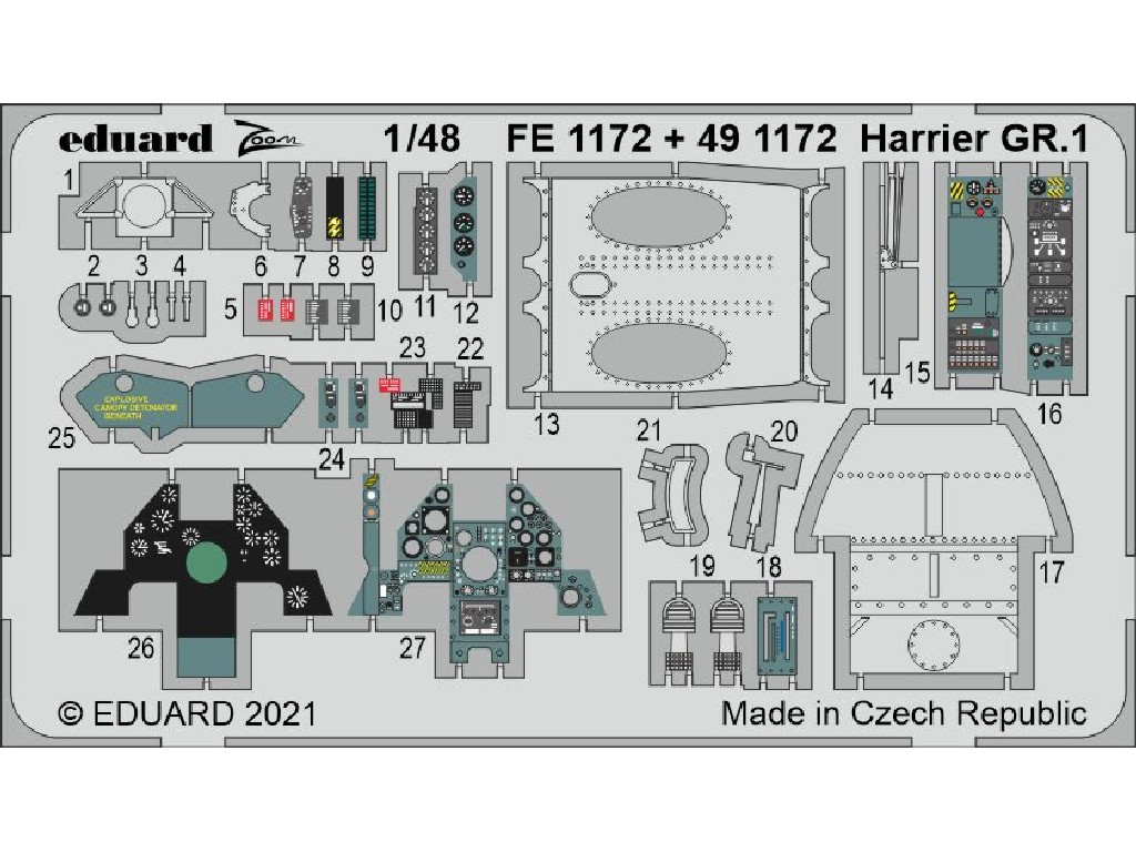 Eduard - FE1172 - Harrier GR.1 for KINETIC kit 1:48