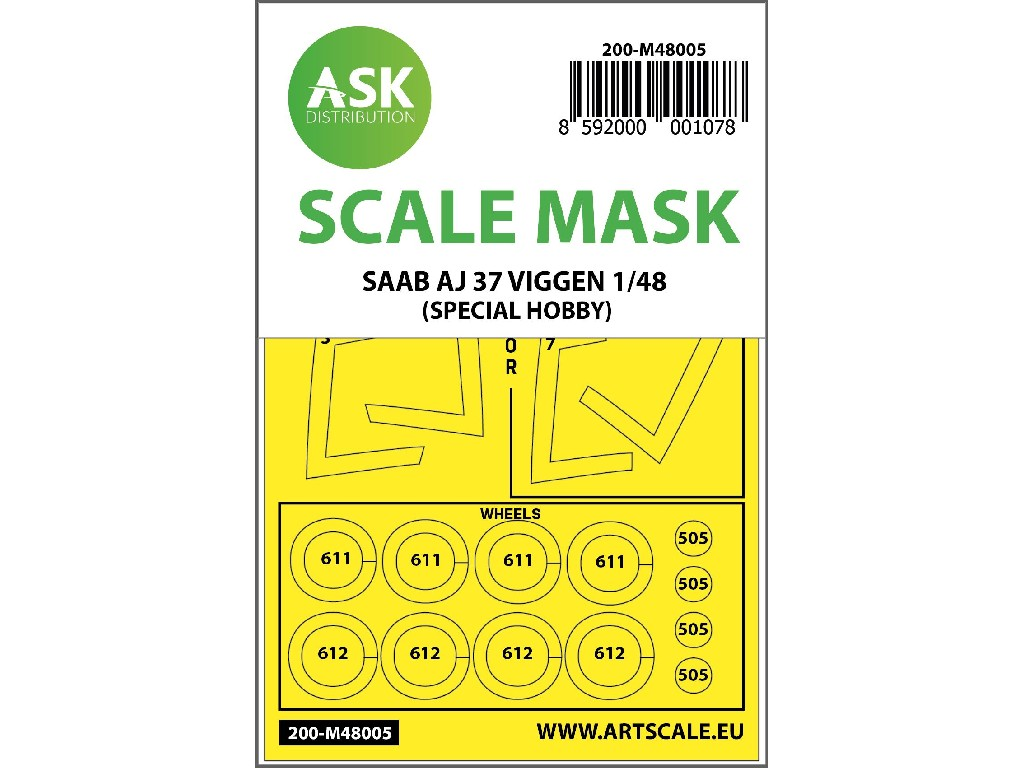 1/48 SAAB AJ 37 Viggen double-sided painting mask for Special Hobby