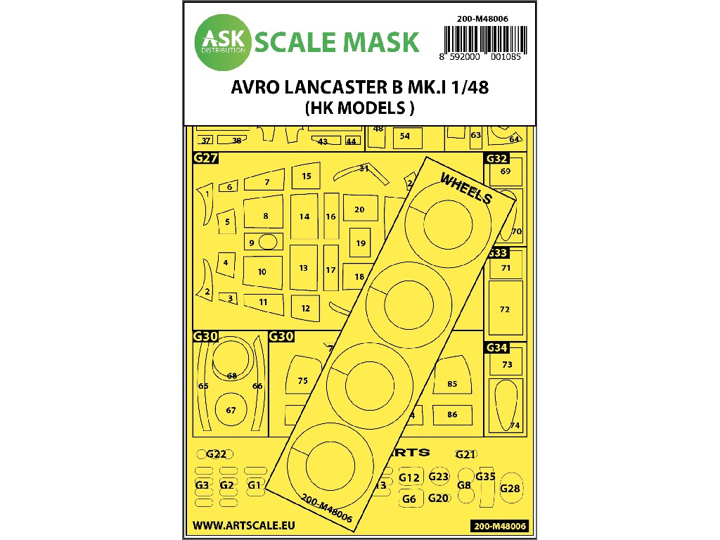 Art Scale - M48006 - Avro Lancaster Mk.I B outside painting mask for HK Models 1:48