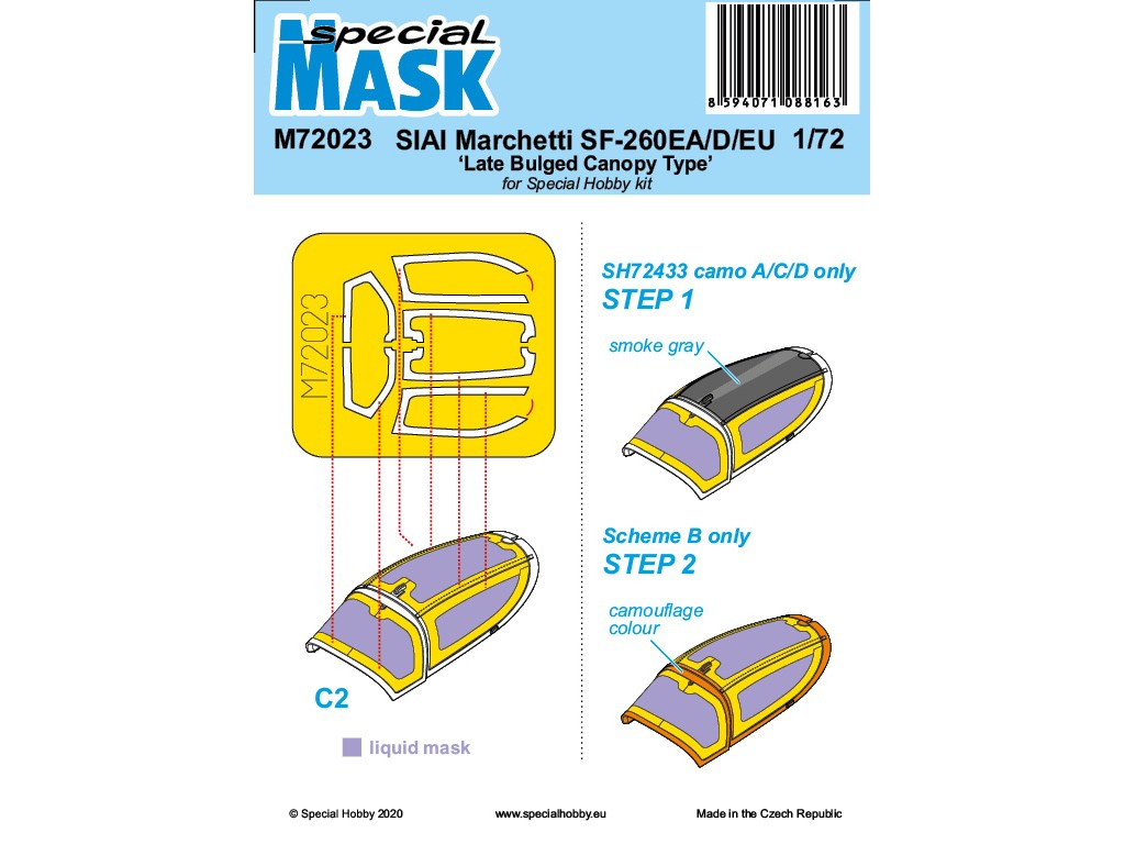 1/72 SIAI-Marchetti SF-260EA/D/EU 'Late Bulged Canopy Type' Mask