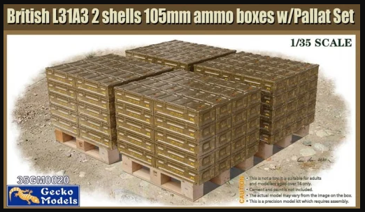 1/35 British L31A3 2 shells 105mm ammo boxes w/Pallet Set - Gecko Models