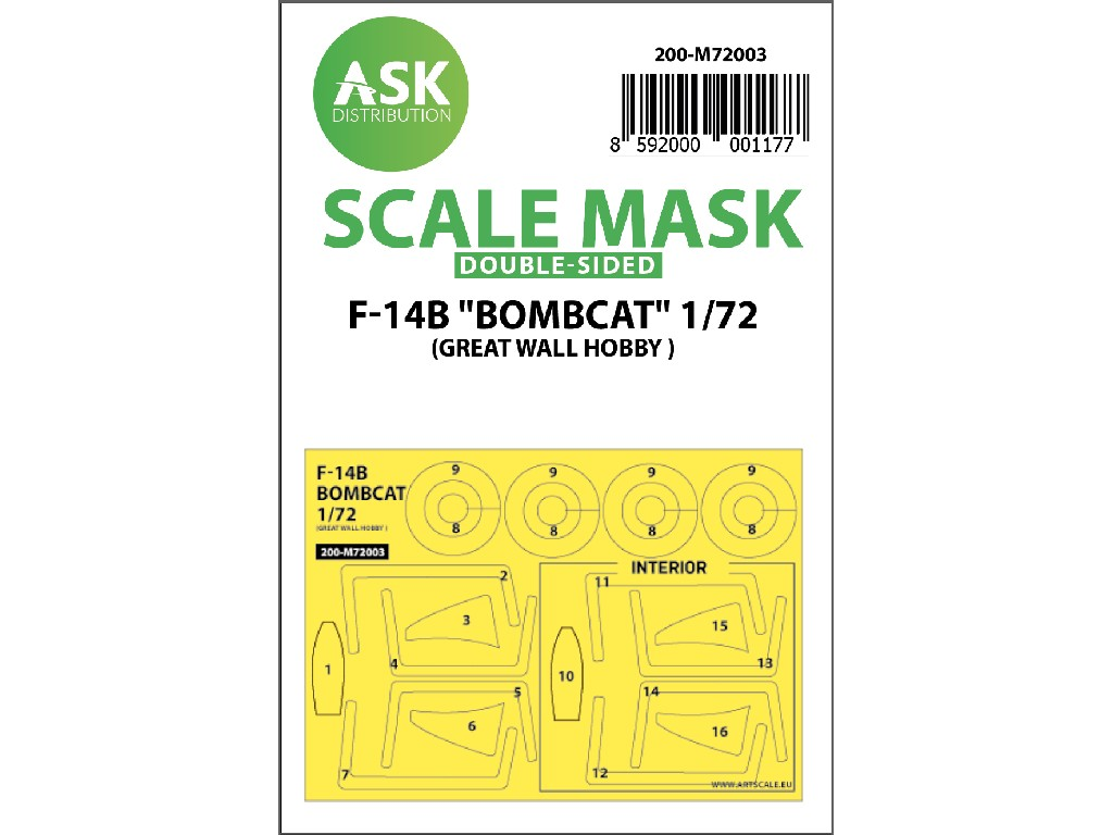 1/72 F-14B Bombcat double-sided painting mask for Great Wall Hobby