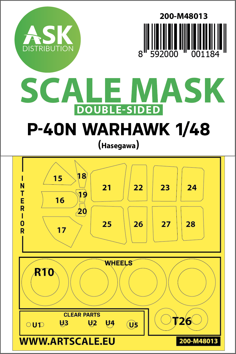 1/48 Curtiss  P-40N Warhawk double-sided painting mask for Hasegawa / Hobby2000