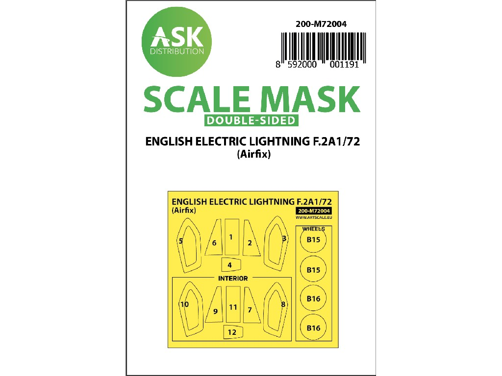 Art Scale - M72004 - EE Lightning F.2A double-sided painting mask for Airfix 1:72