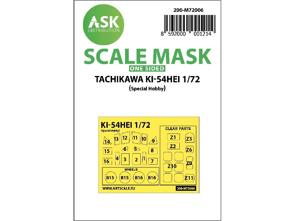 Art Scale - M72006 - Tachikawa Ki-54HEI one-sided painting mask for Special Hobby 1:72