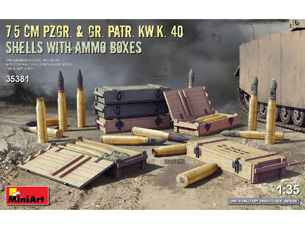 1/35 7.5 cm Pzgr. + Gr. Patr. Kw.K. 40  Shells with Ammo Boxes - Miniart