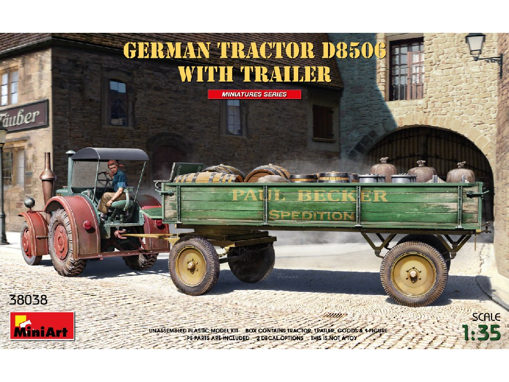 Miniart - 38038 - German Tractor D8506 with Trailer 1:35