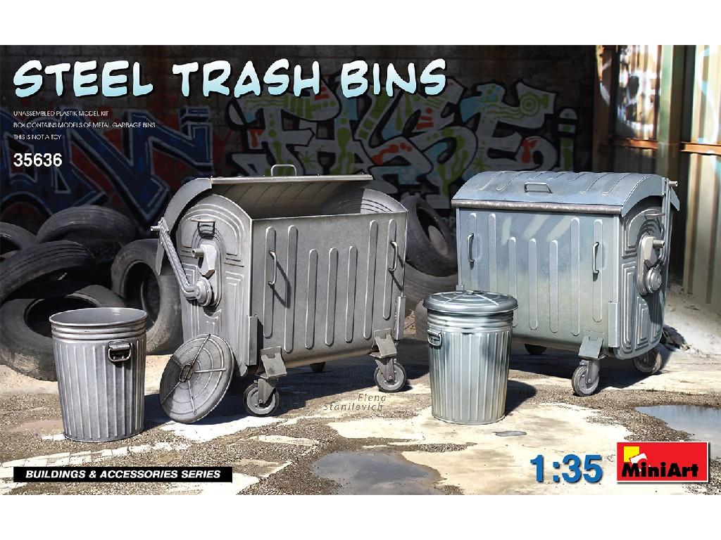 1/35 Steel Trash Bins - Miniart