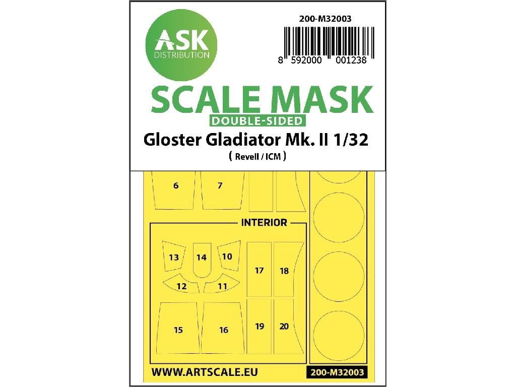Art Scale - M32003 - Gloster Gladiator double-sided painting mask for Revell / ICM 1:32