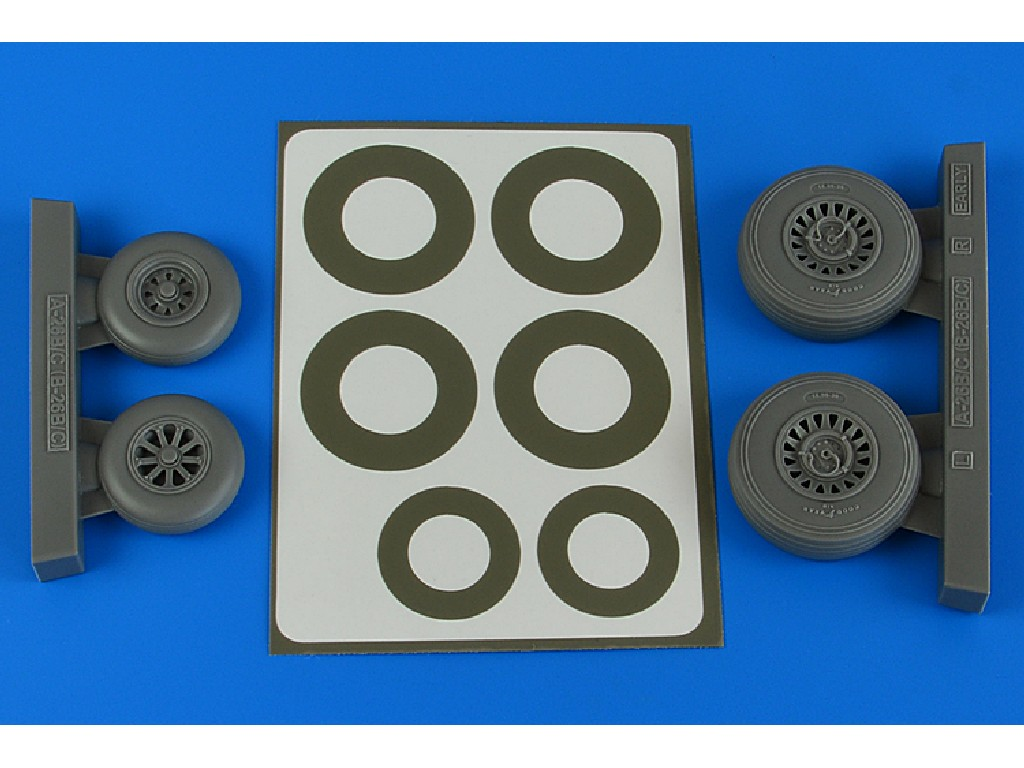 Aires - 4841 - A-26B/C (B-26B/C) Invader wheels + paint masks early for ICM kit 1:48
