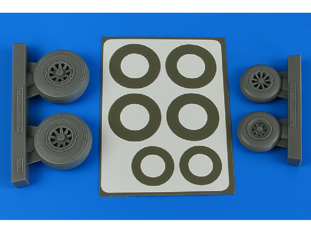 Aires - 4843 - A-26B/C (B-26B/C) Invader wheels + paint masks late for ICM kit 1:48