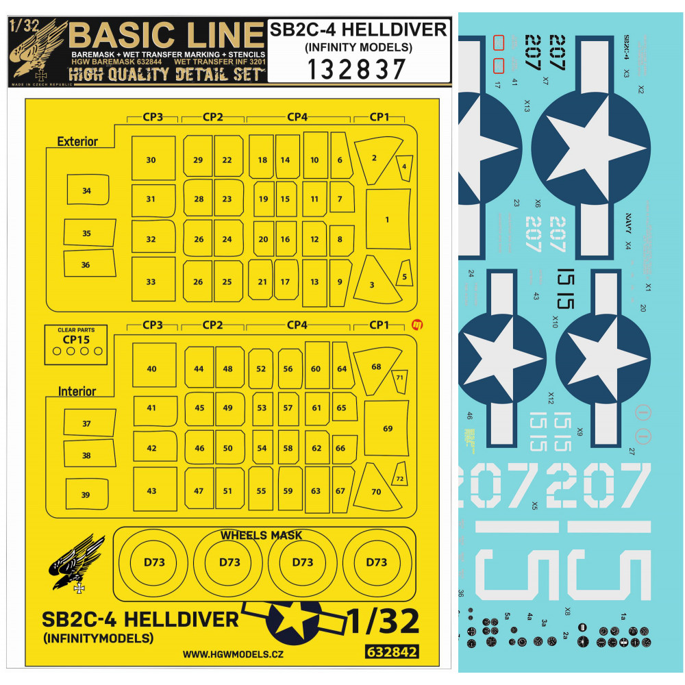 1/32 SB2C-4 HELLDIVER BASIC LINE masks and wet transfers for Infinity Models