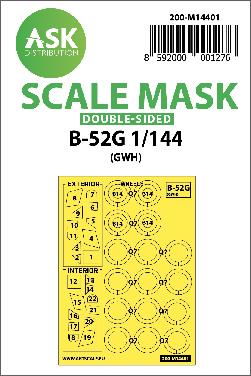 1/144 B-52G double-sided painting mask for Great Wall Hobby