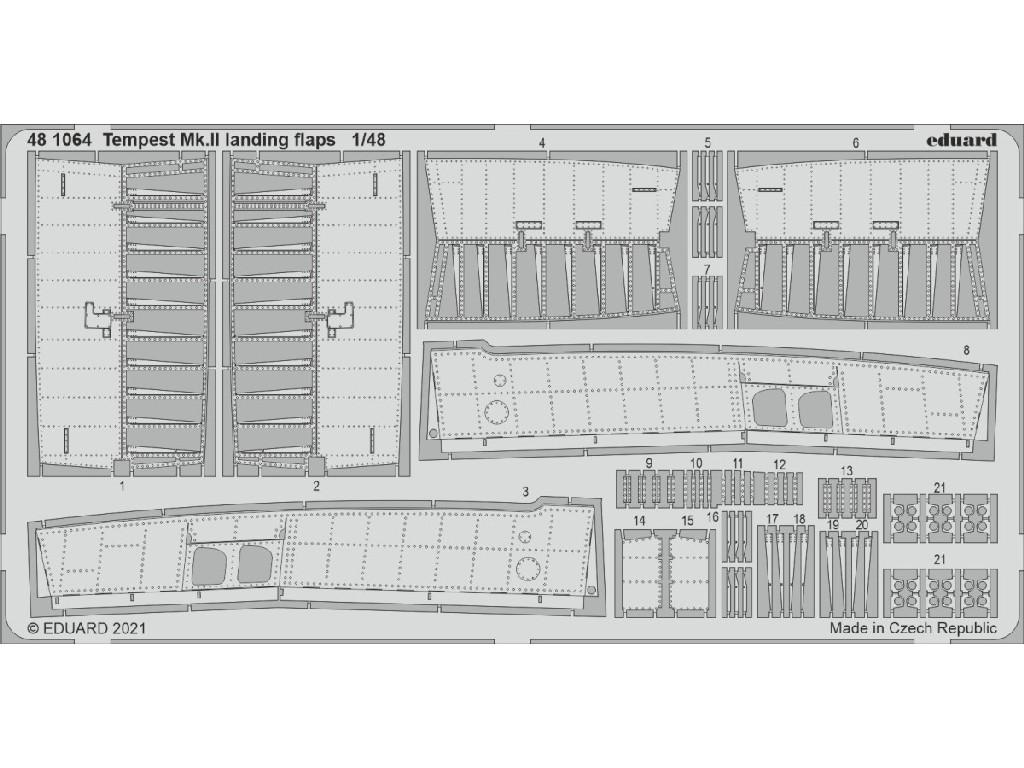 1/48 Tempest Mk.II landing flaps for EDUARD/SPECIAL HOBBY kit