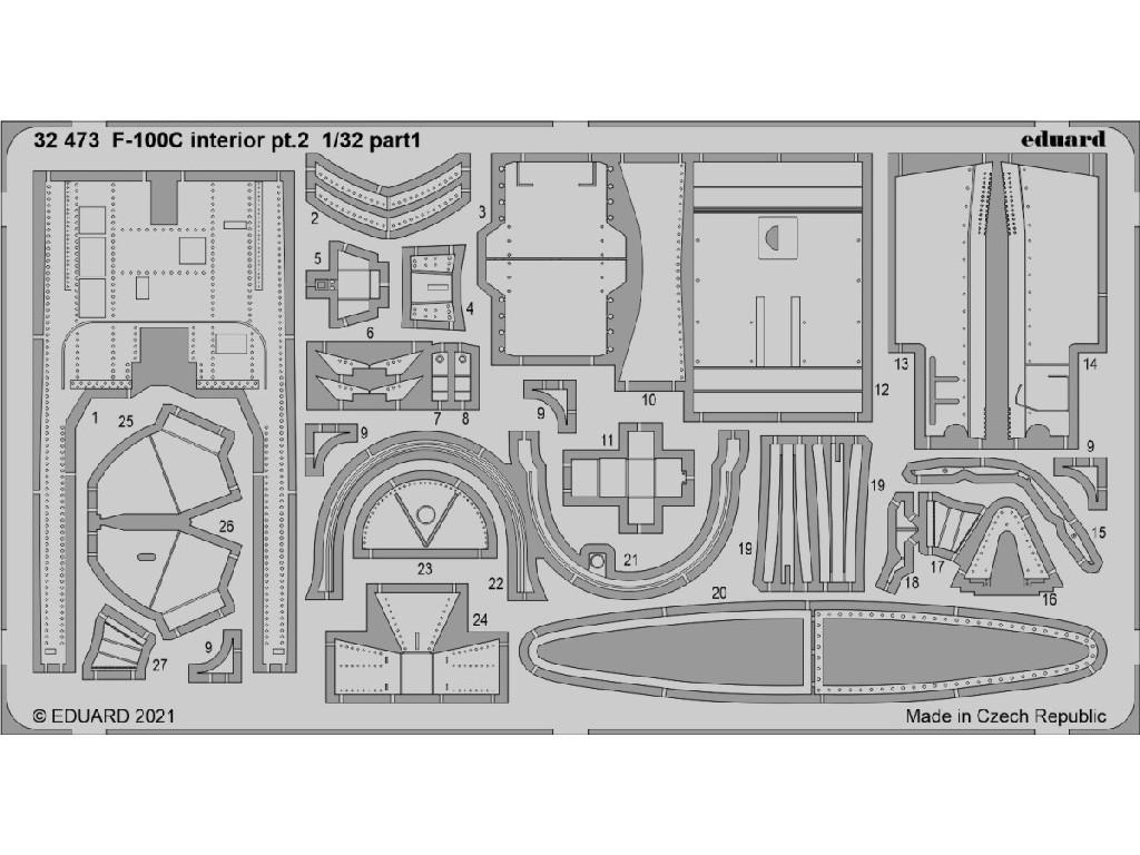 1/32 F-100C interior pt.2 for TRUMPETER kit