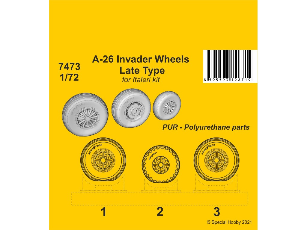 1/72 A-26 Invader Wheels Late Type / for Italeri kit