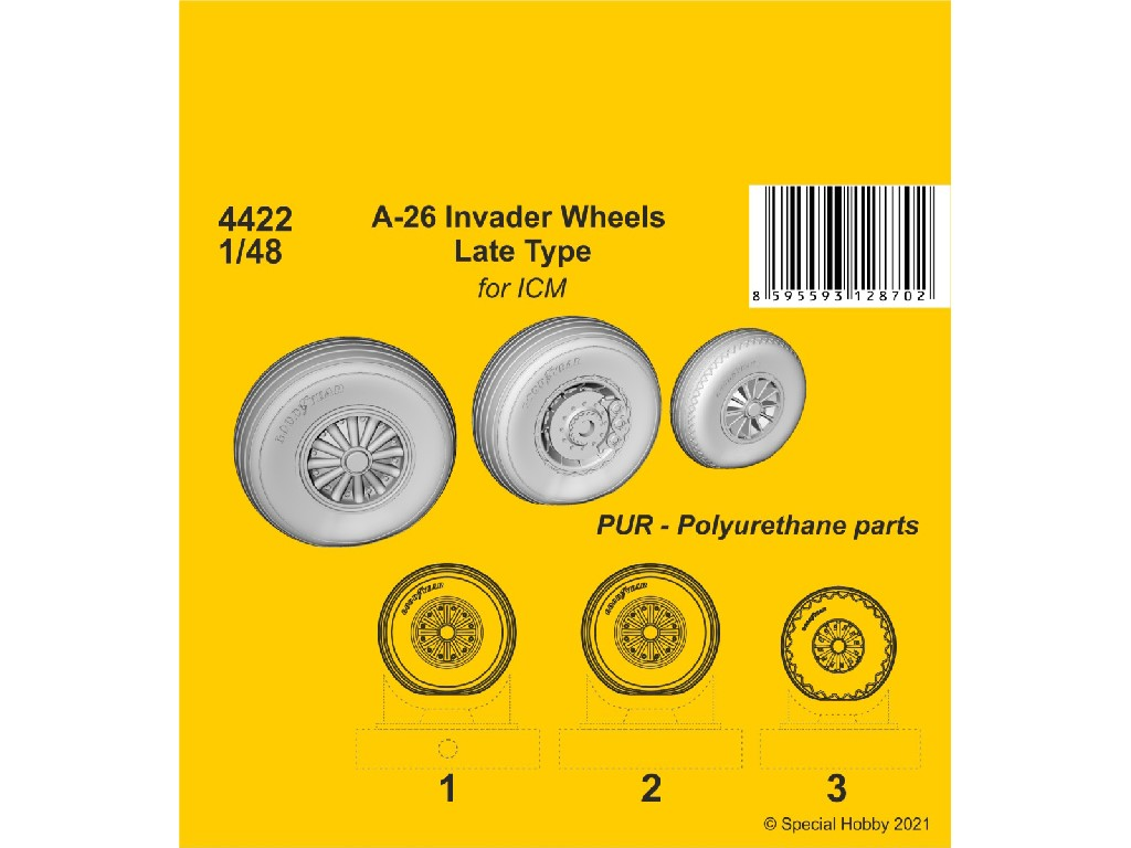 1/48 A-26 Invader Wheels Late Type / for ICM kit