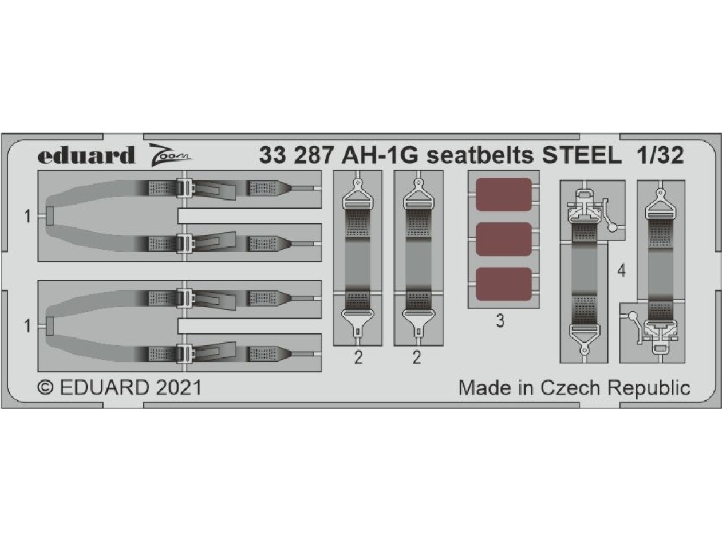 1/32 AH-1G seatbelts STEEL for ICM kit