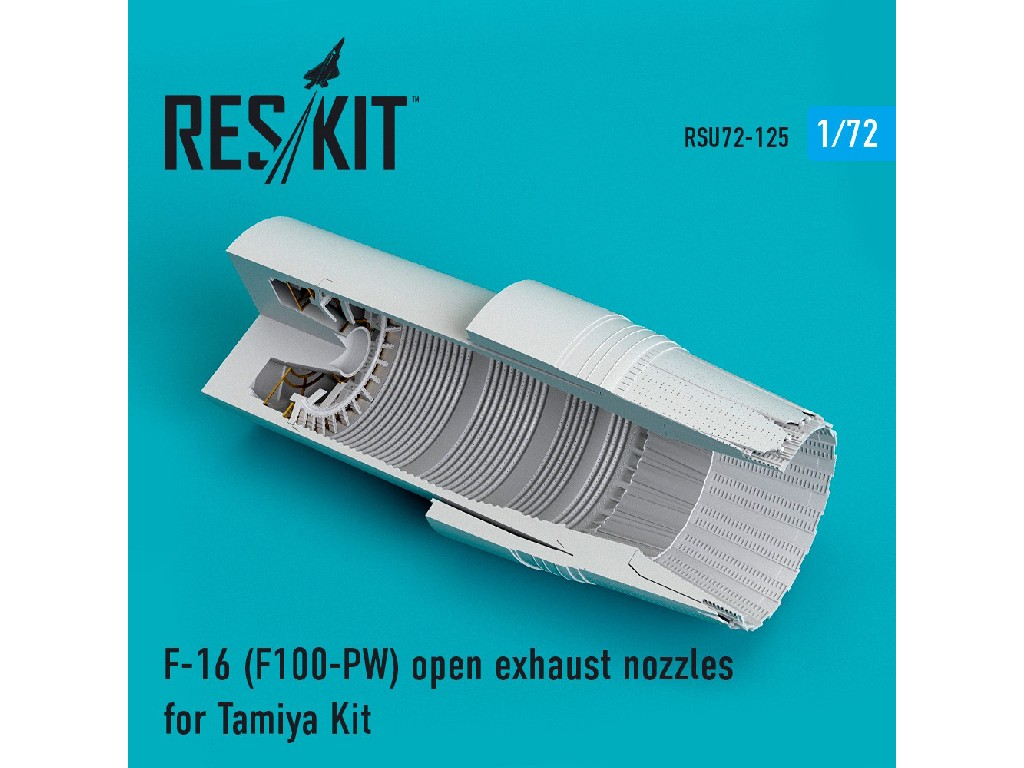 1/72 F-16 (F100-PW) open exhaust nozzles for Tamiya Kit